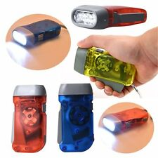 3 LED Dynamo Wind Up Flashlight Torch Light Hand Press Crank NR Camping#HCLQ