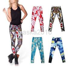 Womens Punk 3D Pattern Print Leggings Ladies Stretchy Jegging Pencil Tight Pants