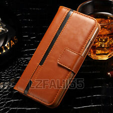 Real Genuine Luxury Leather Card Wallet Case Flip Stand Cover For Samsung Galaxy