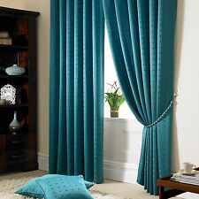 Teal Jacquard Curtains - Fully Lined Faux Silk Ready Made Pencil Pleat Curtain