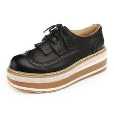 Oxfords Women Leather Wedge Heels Retro Brogues Wingtip Lace Up Tassel Shoes New