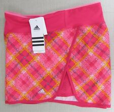ADIDAS Women's CLIMALITE Athletic Performance Running Shorts Pink Plaid XL NEW