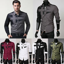 Fashion Mens Luxury Long Sleeve Shirt Casual Slim Fit Formal Dress Shirts Tops
