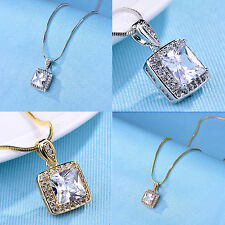14mm*14mm Princess Cut White Topaz  Pendant Necklace 18K Gold Filled Chain 18""