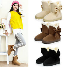 Fashion Women Faux Suede Fur Winter Warm Martin Snow Boots Flat Ankle Boot Shoes