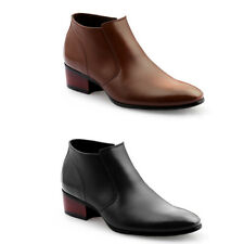 MO27 Mens Cow Leather Formal Casual Plain Toe Dress Shoes Chelsea Ankle Boots