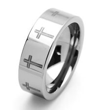 Men 8MM Comfort Fit Tungsten Carbide Wedding Band Cross Engraved Ring