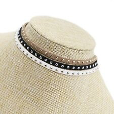 Brand New Trendy Black Retro Stud Choker Necklace Black White Brown