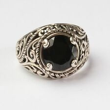 10mm Round Black Onyx Sterling Silver Ring 925 Filigree Scrollwork Size 8.25