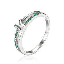JewelryPalace Butterfly Created Nano Russian Emerald Ring 925 Sterling Silver