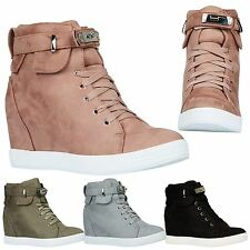 Louisa Womens Hidden Wedges Heels Lace Up High Top Trainers Ankle Boots Size New