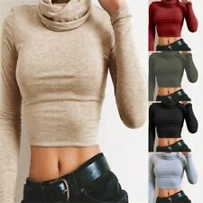 Women Turtle Neck Cropped Top Plain Short Casual Fall Winter Long Sleeve Blouse