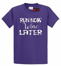 Run Now Wine Later Funny T Shirt Alcohol Party Workout Marathon Tee S-5XL