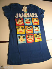 New Paul Frank Blue Kids T Shirt Julius Monkey expressions moods M L XL