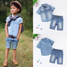 2PCS Kids Baby Boys Clothes Summer Short Sleeve Shirt / Pants Jeans Child Sets