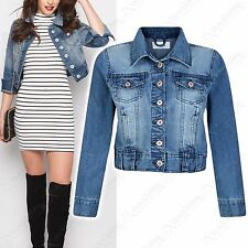 NEW WOMENS DENIM CROPPED JACKET DENIM CROP JEAN LADIES FESTIVAL 6 8 10 12 14 16