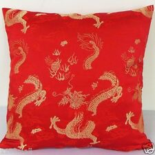 "Sofa CUSHION COVER Chinese Brocade Pillow Case ""Off Gold Dragon on Red"""