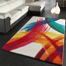 Large Colourful Rug Multi Coloured Mix White Yellow Orange Red Blue Green Carpet