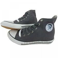 Diesel Mens Designer Carbon Grey High Top Shoes Canvas Casual Sneakers Trainers
