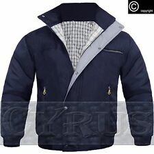 MENS BOMBER JACKET CHECK LINED PADDED QUILTED HARRINGTON WARM WORK BLACK NAVY
