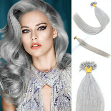 Sliver Grey Double Drawn Pre Bonded Nail U Tip 100% Remy Human Hair Extensions