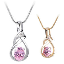 Oval Pink Sapphire Pendant Necklace Chain Jewelry 18K Gold/White Gold Filled 18""