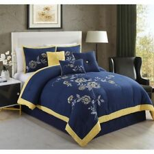 NEW Queen King Bed Navy Blue Yellow Border Embroidered Floral 7 pc Comforter Set