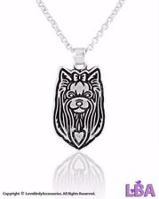 NEW WOMEN FASHION VINTAGE SILVER YORKSHIRE TERRIER PENDANT NECKLACE CHARM | DOGS