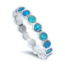 Fine Women 4mm 925 Sterling Silver Simulated Blue Opal Eternity Band Ring Band
