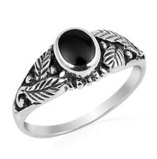 Fine Men Women 7mm 925 Sterling Silver Simulate Black Onyx Leaf Ladies Ring Band