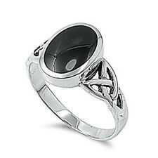 Fine Men Women 12mm 925 Sterling Silver Simulated Black Onyx Celtic Ring Band