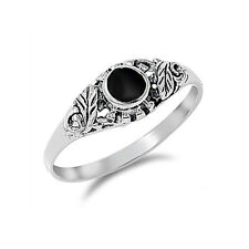 Fine Men 7mm Sterling Silver Round Cut Simulated Black Onyx Promise Ring Band