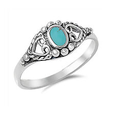 Fine Women 8mm 925 Silver Turquoise Vintage Style Heart Promise Ring Band