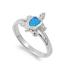 Fine Women 12mm 925 Sterling Silver Simulated Blue Opal Turtle Ring Band