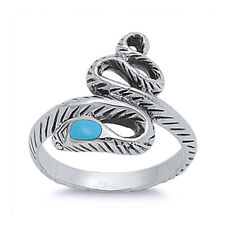 Fine Women 18mm 925 Sterling Silver Simulated Turquoise Accented Snake Ring Band