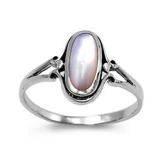 Fine Women 13mm 925 Silver Freshwater Cultured Mother of Pearl Ladies Ring Band