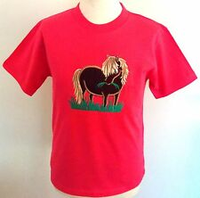 Childs Fuchsia Pink Applique Embroidered T Shirt Shetland Pony