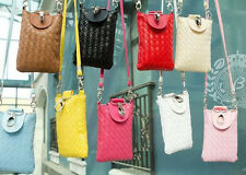 Ms.  Coin Purse Cell Phone Case PU Weave Shoulder Cross-body Bags Zero Wallet