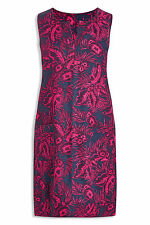 NEXT LADIES NAVY TROPICAL PRINT LINEN BLEND SLEEVELESS SHIFT DRESS NEW (ref 205)