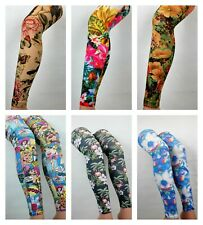 Patterned Tights Footless Printed Funky Alternative Tattoo  Suspender