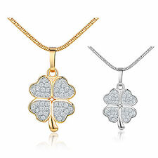 """White Topaz Lucky Four Leaf Clover Pendant Necklace Chain Silver/Gold Tone 18"""""""