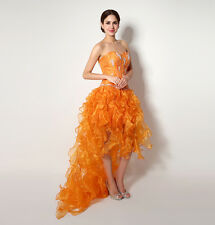 ASYM Orange Organza Prom Gowns Strapless Cocktail Party Evening Party Dresses