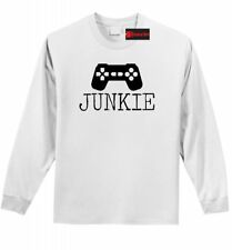 Junkie Gamer LS T Shirt TV Gaming Boyfriend Girlfriend Nerd Geek Gift Tee Z1