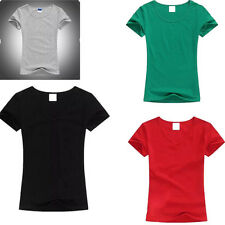 Tops Short Sleeve Solid Color Ladies T-Shirt O-neck T Shirt Womens Color Tops