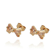 Korean 18K Gold Filled Triangle CZ Cute Bow Small Stud Earrings  Girls baby