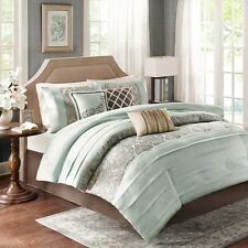 7pc Luxury Soft Blue-Green Comforter Set Shams Bed Skirt AND Pillows