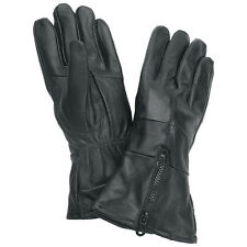 Mens Womens Unisex Black Leather Insulated Zippered Motorcycle Riding Gloves