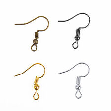 Wholesale 100pcs Coil Wire Metal Earring Hooks Finding Silver Golden 6 colors