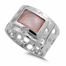 13mm 925 Silver Pink Cultured Mother Pearl Ladies Vintage Style Ring Band