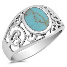 Women 12mm 925 Sterling Silver Oval Turquoise Filigree Vintage Style Ring Band